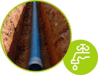Execução de rede de água potável
